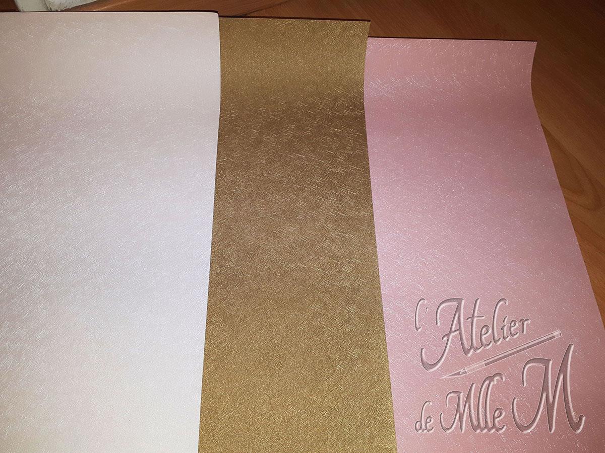 Papiers skivertex pour l'habillage de l'urne de mariage 3 valises sur la thématique du voyage.