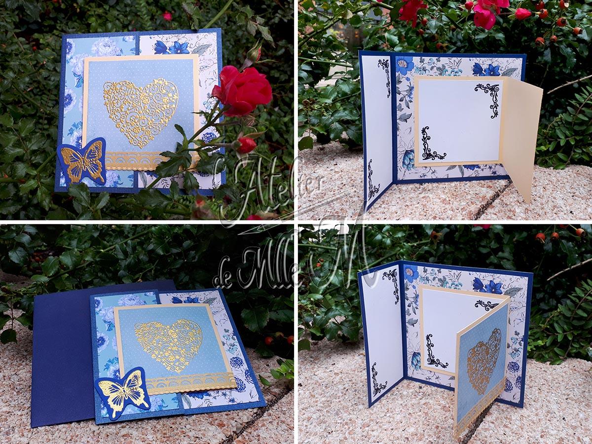 Carte d'anniversaire double pliage. Réalisée dans un camaïeux de bleus avec des papiers décoratifs fleuris, et des motifs embossés en doré. Composition : Papiers décoratifs – Motifs embossés à chaud. Bordure autocollante. Réalisé et adapté d'après le tuto vidéo de l'atelier du jardin de papier : https://youtu.be/UGcwojwi2QU