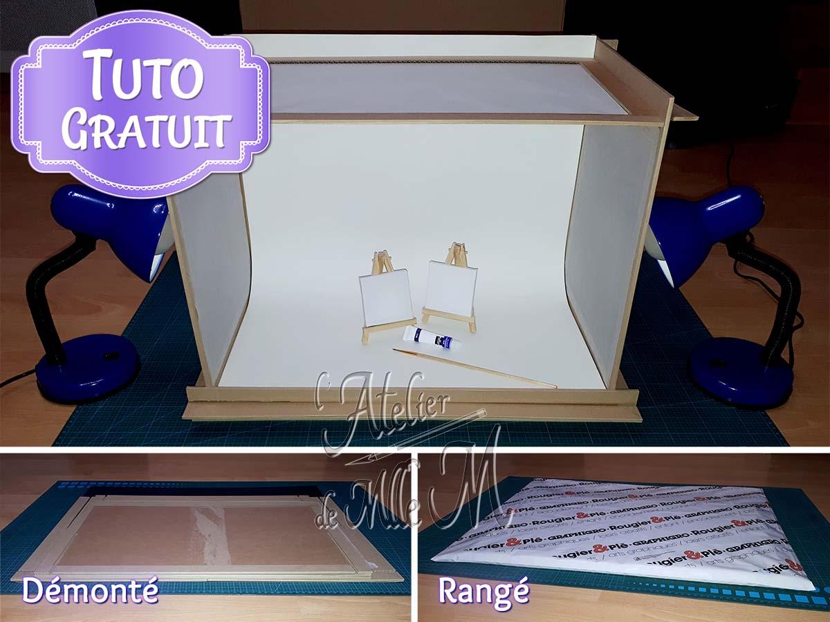 Un Mini Studio Photo en carton fait maison, entièrement démontable pour un gain de place et un rangement facile. Tutoriel / DIY disponible sur https://www.latelierdemllem.com/studio-photo/