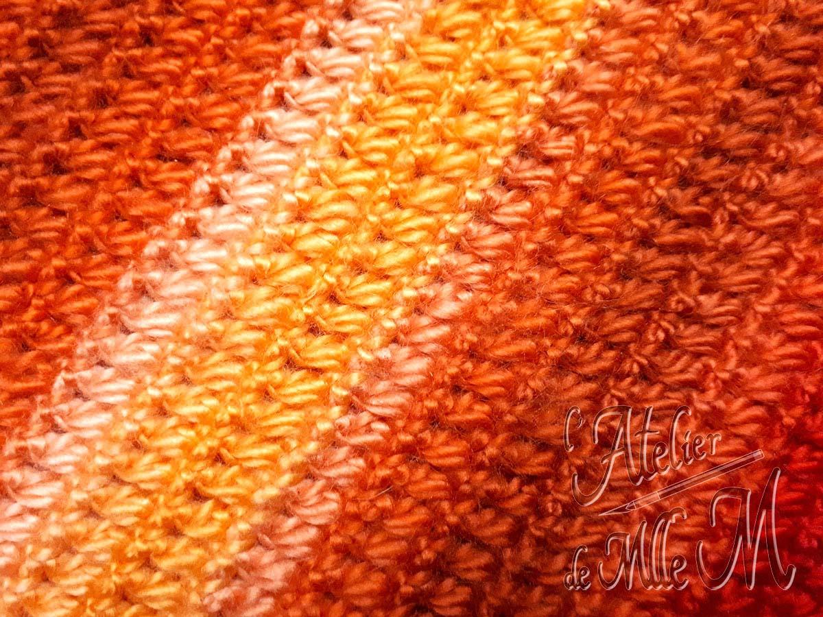 """Gros plan sur le """"petit point Puff"""" utilisé à l'arrière de la housse crochetée à la main pour habiller une bouillotte."""
