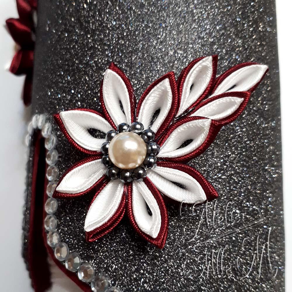 Une fleur tsumami zaiku réalisée en rubans de satin pour décorer mes distributeurs de cotons faits sur mesure en carton. Le cœur de la fleur est réalisé en perles.