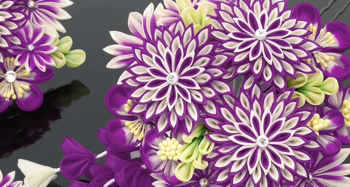 Entête Tsumami zaiku (fleurs) pour mobile.
