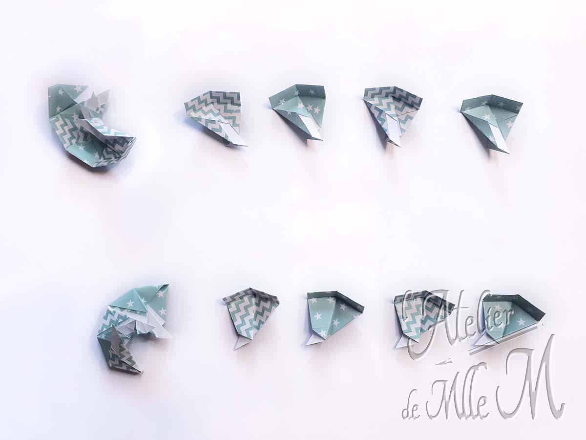 Pièces composant la boîte octogonale origami.