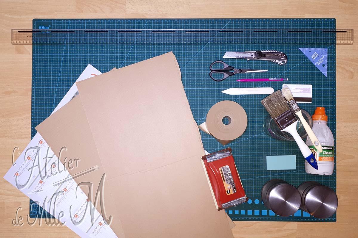 Photo du matériel nécessaire à la fabrication du chevalet en carton pour broderie diamant (diamond painting). Tutoriel / DIY disponible sur https://www.latelierdemllem.com/tuto-chevalet-carton-broderie-diamant-diamond-painting/