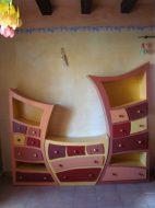 Tryptique d'étagères, inspiré d'un modèle de Kiki carton, et réalisé par Cartons de Noëlle.